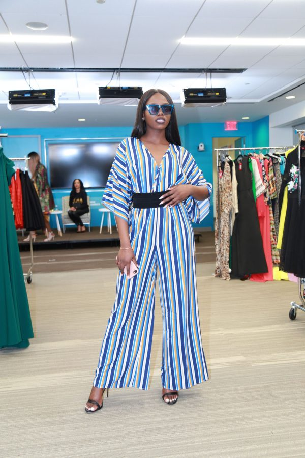 Sandra Blue Striped Jumpsuit